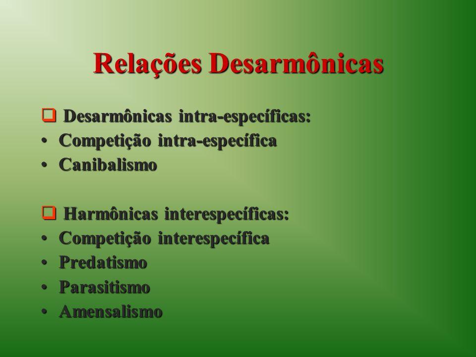 Relações Desarmônicas Desarmônicas intra-específicas: Desarmônicas intra-específicas: Competição intra-específicaCompetição intra-específica Canibalis