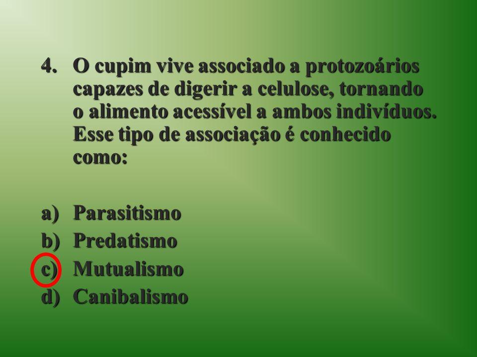 4.O cupim vive associado a protozoários capazes de digerir a celulose, tornando o alimento acessível a ambos indivíduos.