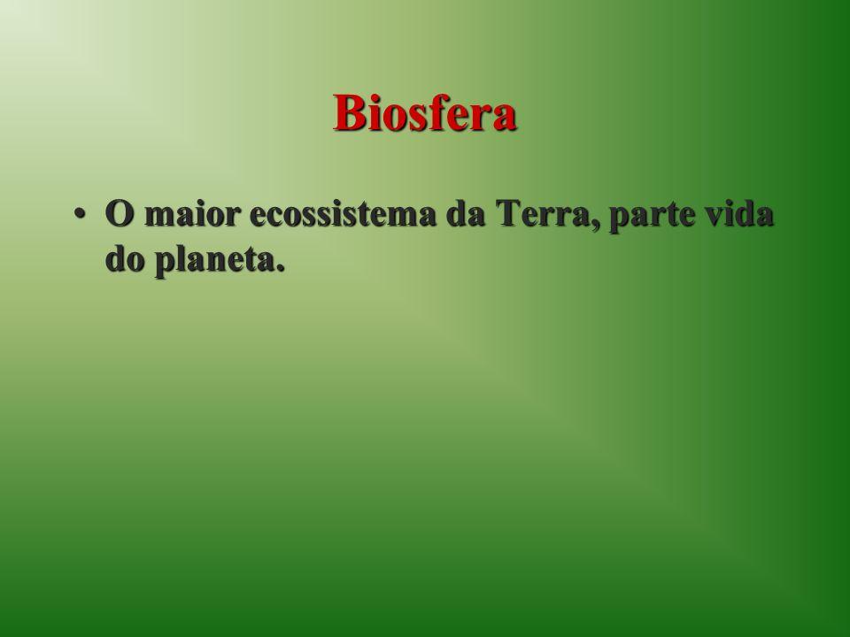 Biosfera O maior ecossistema da Terra, parte vida do planeta.O maior ecossistema da Terra, parte vida do planeta.