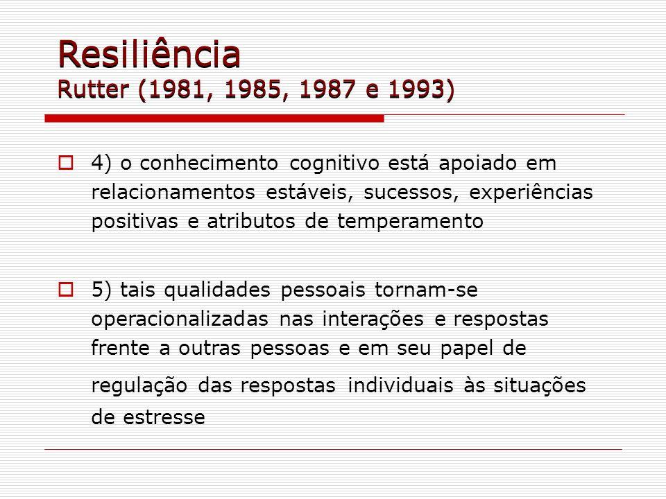 Resiliência Rutter (1981, 1985, 1987 e 1993) 4) o conhecimento cognitivo está apoiado em relacionamentos estáveis, sucessos, experiências positivas e