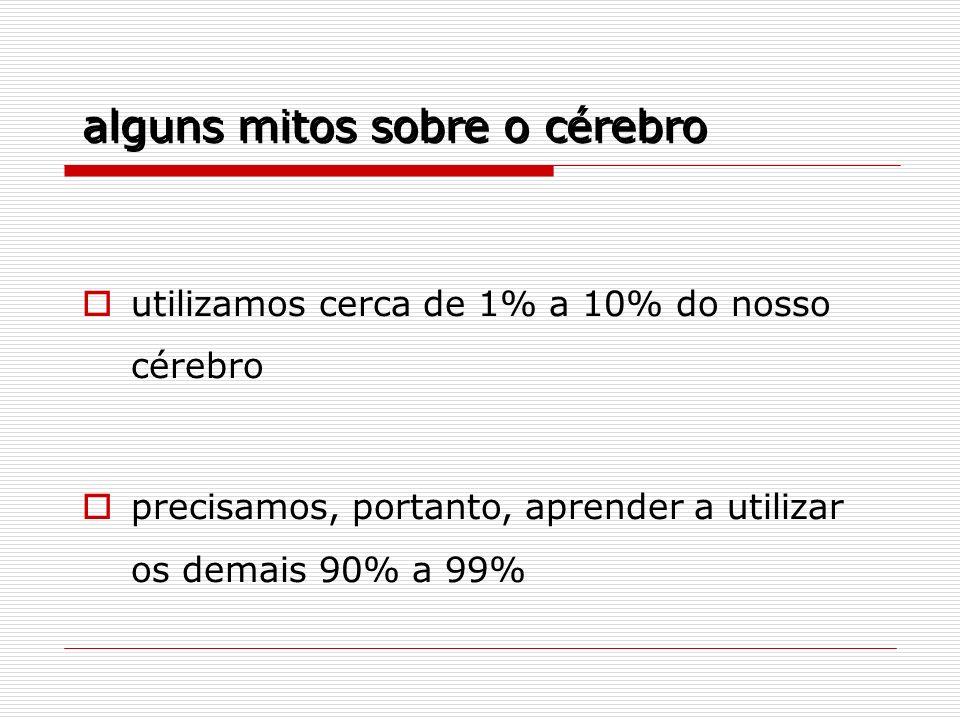 utilizamos cerca de 1% a 10% do nosso cérebro precisamos, portanto, aprender a utilizar os demais 90% a 99% alguns mitos sobre o cérebro