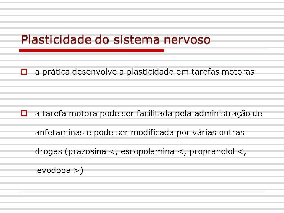 Plasticidade do sistema nervoso a prática desenvolve a plasticidade em tarefas motoras a tarefa motora pode ser facilitada pela administração de anfet