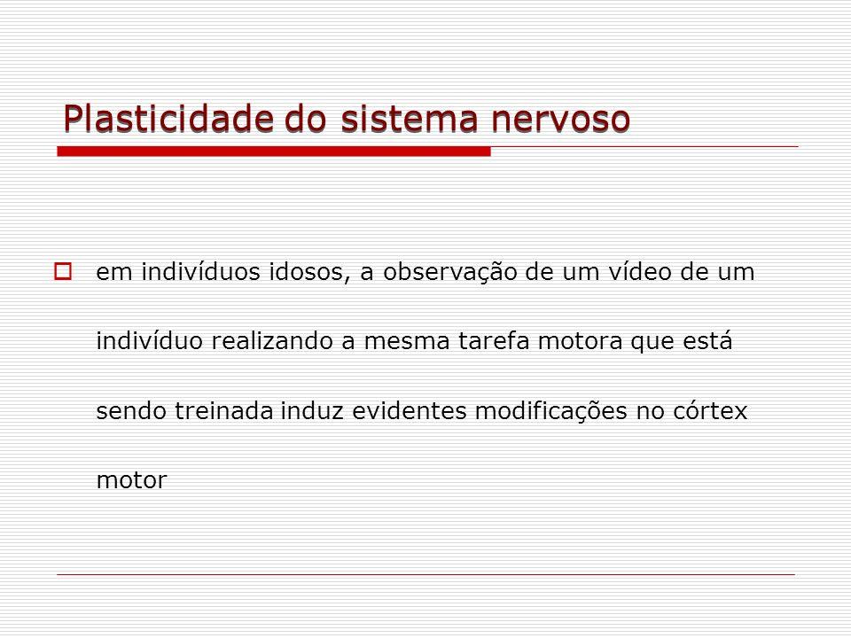 Plasticidade do sistema nervoso em indivíduos idosos, a observação de um vídeo de um indivíduo realizando a mesma tarefa motora que está sendo treinad