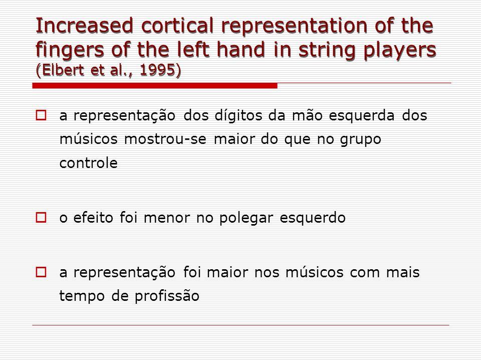 a representação dos dígitos da mão esquerda dos músicos mostrou-se maior do que no grupo controle o efeito foi menor no polegar esquerdo a representaç