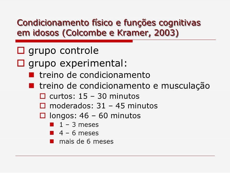 Condicionamento físico e funções cognitivas em idosos (Colcombe e Kramer, 2003) grupo controle grupo experimental: treino de condicionamento treino de