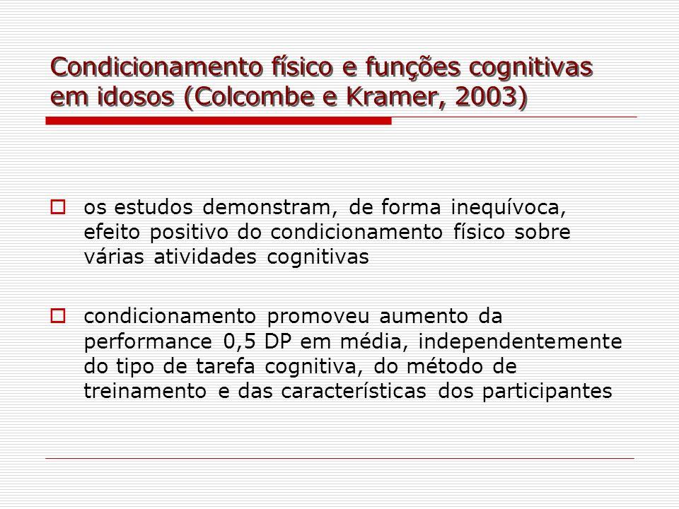 Condicionamento físico e funções cognitivas em idosos (Colcombe e Kramer, 2003) os estudos demonstram, de forma inequívoca, efeito positivo do condici