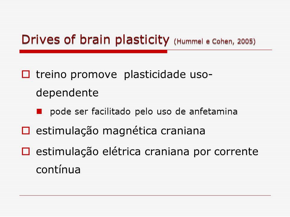 Drives of brain plasticity (Hummel e Cohen, 2005) treino promove plasticidade uso- dependente pode ser facilitado pelo uso de anfetamina estimulação m