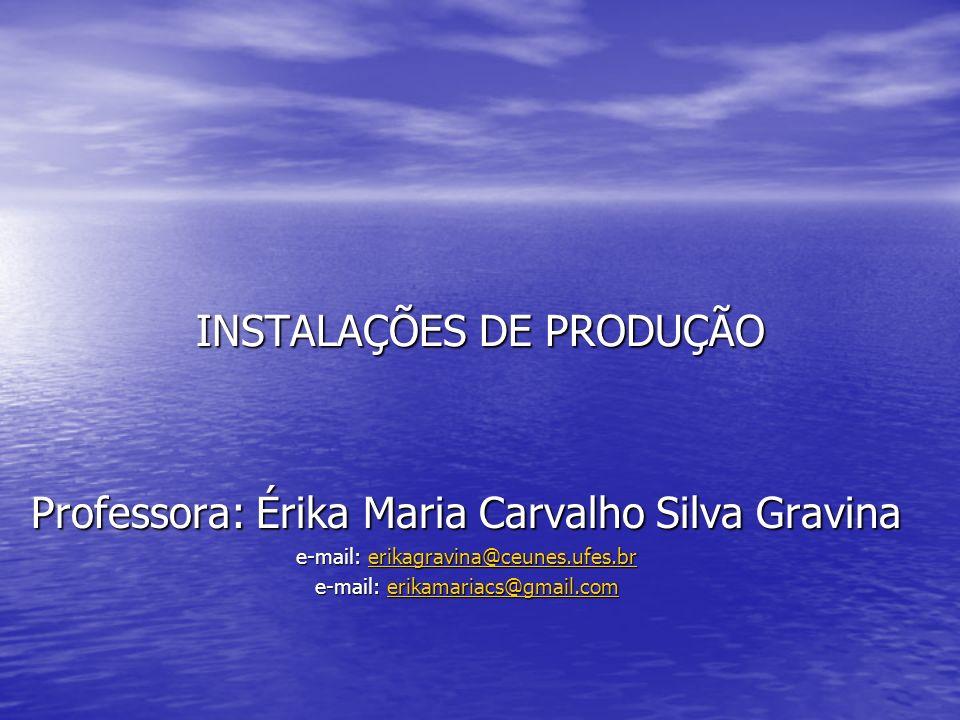 INSTALAÇÕES DE PRODUÇÃO Professora: Érika Maria Carvalho Silva Gravina e-mail: erikagravina@ceunes.ufes.br erikagravina@ceunes.ufes.br e-mail: erikama