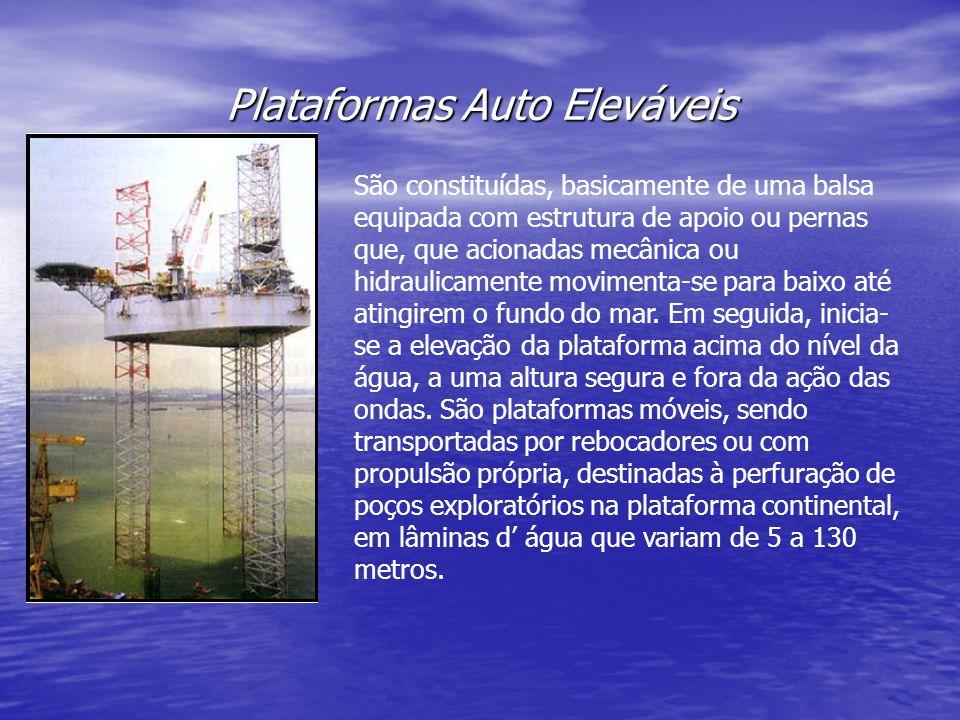 Plataformas Auto Eleváveis São constituídas, basicamente de uma balsa equipada com estrutura de apoio ou pernas que, que acionadas mecânica ou hidraul