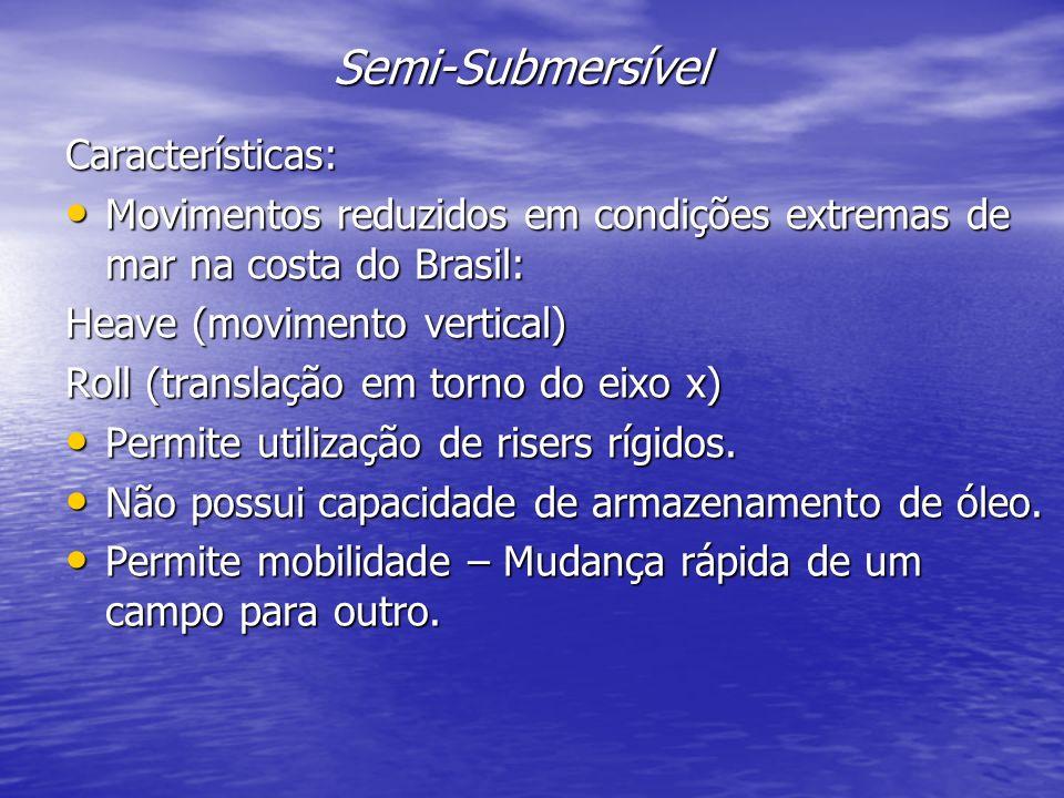 Semi-Submersível Características: Movimentos reduzidos em condições extremas de mar na costa do Brasil: Movimentos reduzidos em condições extremas de