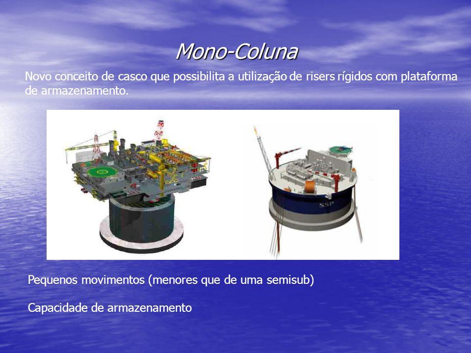 Mono-Coluna Novo conceito de casco que possibilita a utilização de risers rígidos com plataforma de armazenamento. Pequenos movimentos (menores que de