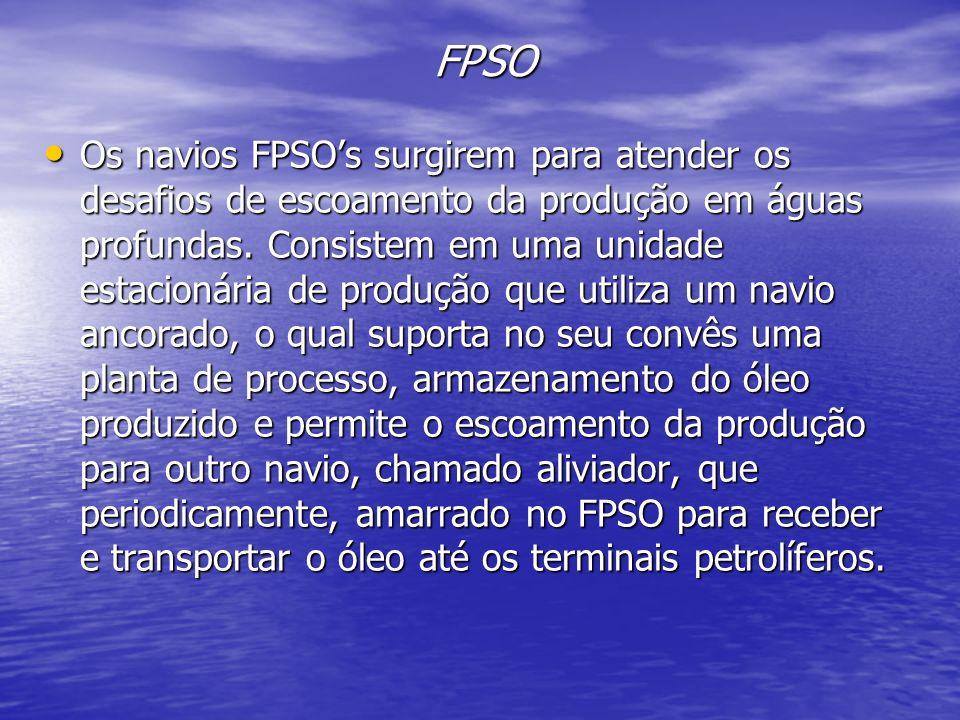 FPSO Os navios FPSOs surgirem para atender os desafios de escoamento da produção em águas profundas. Consistem em uma unidade estacionária de produção