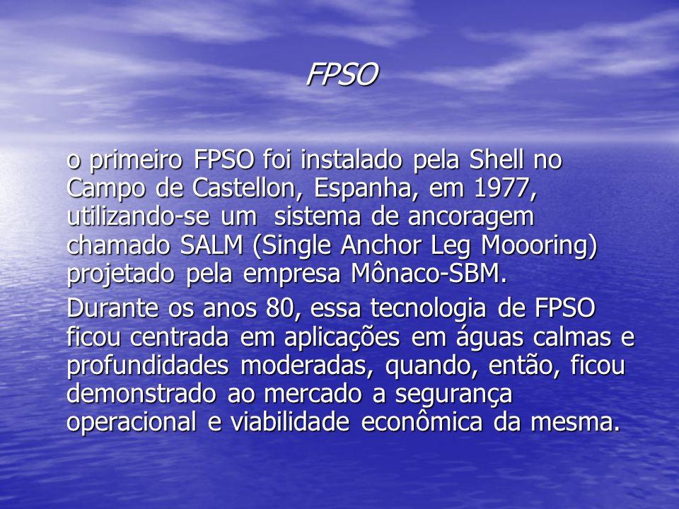 FPSO o primeiro FPSO foi instalado pela Shell no Campo de Castellon, Espanha, em 1977, utilizando-se um sistema de ancoragem chamado SALM (Single Anch