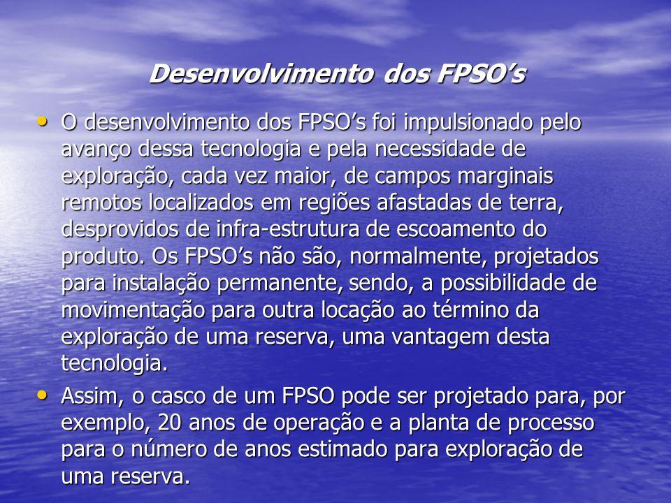 Desenvolvimento dos FPSOs O desenvolvimento dos FPSOs foi impulsionado pelo avanço dessa tecnologia e pela necessidade de exploração, cada vez maior,