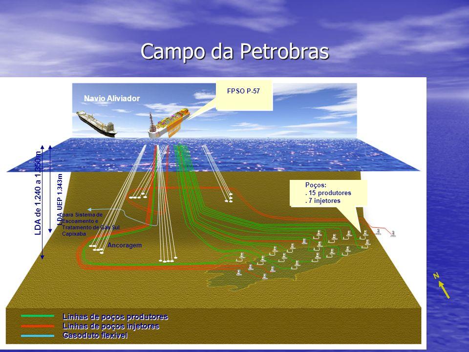 Campo da Petrobras N Navio Aliviador LDA UEP 1.343m Ancoragem para Sistema de Escoamento e Tratamento de Gás Sul Capixaba LDA de 1.240 a 1.350m Linhas