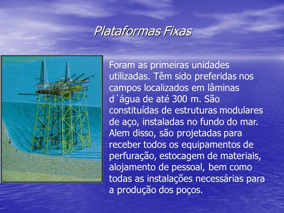 Plataformas Fixas Foram as primeiras unidades utilizadas. Têm sido preferidas nos campos localizados em lâminas d´água de até 300 m. São constituídas