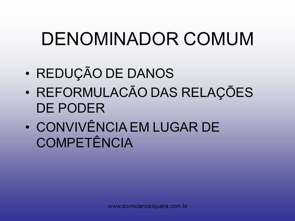 www.domicianosiqueira.com.br DENOMINADOR COMUM REDUÇÃO DE DANOS REFORMULACÃO DAS RELAÇÕES DE PODER CONVIVÊNCIA EM LUGAR DE COMPETÊNCIA