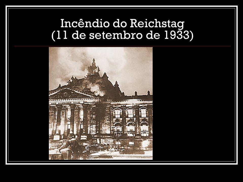 OS NAZISTAS TOMAM O PODER Apoio de industriais e de exército Eleições de 1932: nazistas vencem e dominam Parlamento (Reichstag) 1933: Partido Nazista