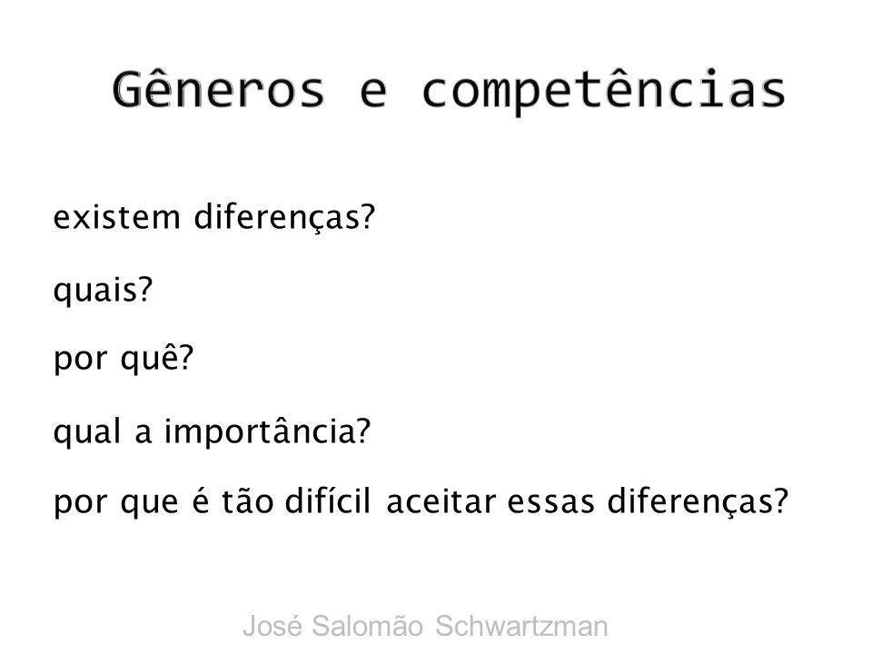 existem diferenças? quais? por quê? qual a importância? por que é tão difícil aceitar essas diferenças? José Salomão Schwartzman