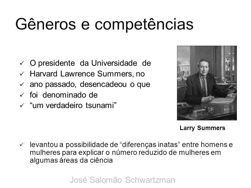O presidente da Universidade de Harvard Lawrence Summers, no ano passado, desencadeou o que foi denominado de um verdadeiro tsunami levantou a possibi