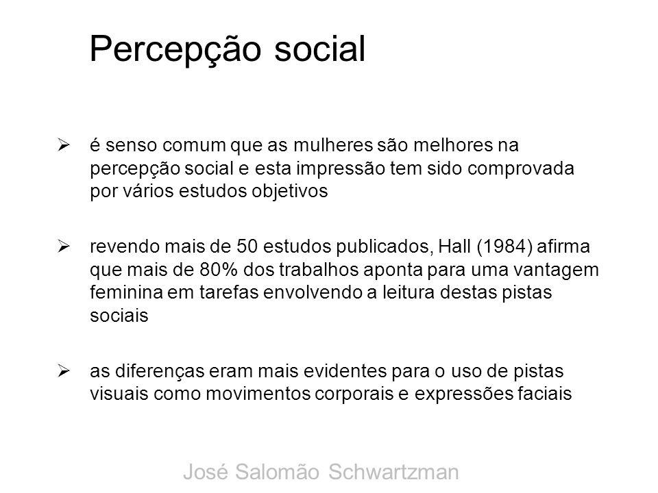 Percepção social é senso comum que as mulheres são melhores na percepção social e esta impressão tem sido comprovada por vários estudos objetivos reve