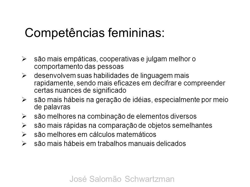 Competências femininas: são mais empáticas, cooperativas e julgam melhor o comportamento das pessoas desenvolvem suas habilidades de linguagem mais ra