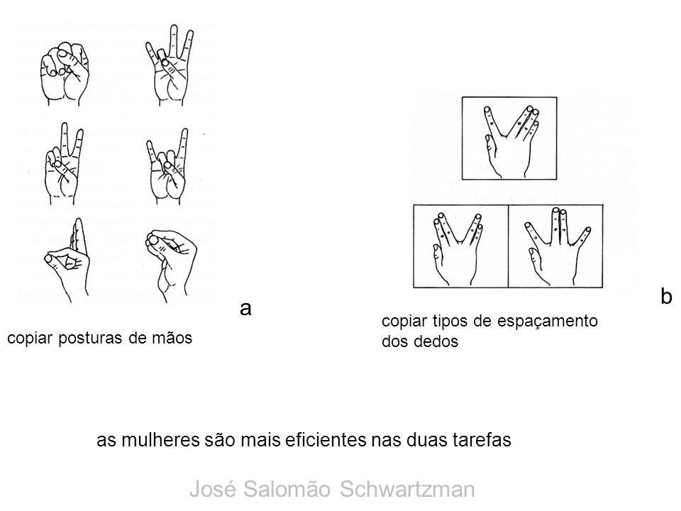 as mulheres são mais eficientes nas duas tarefas a b copiar posturas de mãos copiar tipos de espaçamento dos dedos José Salomão Schwartzman