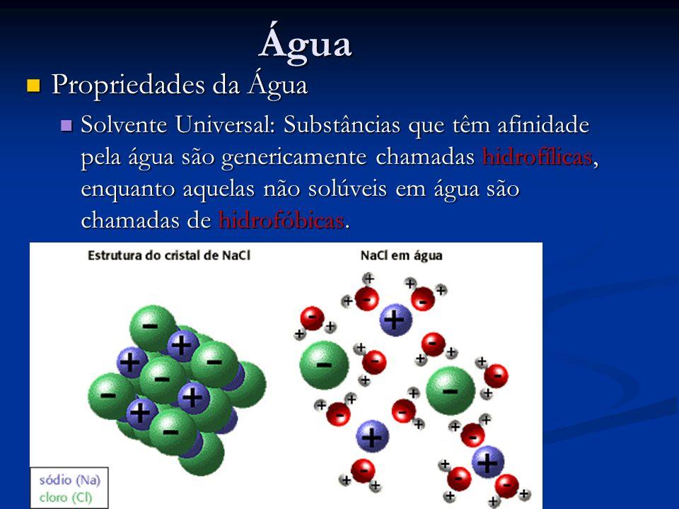 Água Propriedades da Água Propriedades da Água Solvente Universal: Substâncias que têm afinidade pela água são genericamente chamadas hidrofílicas, en