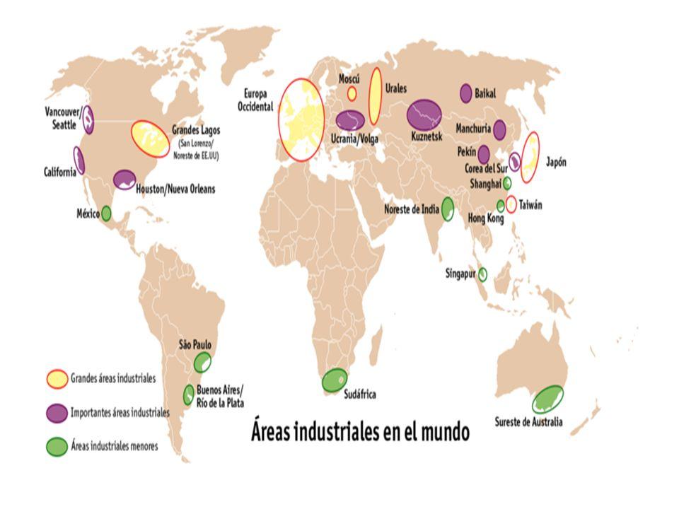 PRINCIPAIS ÁREAS INDUSTRIAIS -NA AMÉRICA DO NORTE NE dos EUA (manufacturing belt) Vale do silício (Costa Pacífica) e Golfo do México (Sun Belt) -NA AMÉRICA DO SUL SE do Brasil -NA EUROPA Ocidental- Vale do Ruhr/Reno (Alemanha) Oriental- Ex-socialistas (mão-de-obra barata) -NA ÁSIA Japão Índia China- ZEE/ZPE Tigres e Novos Tigres Asiáticos
