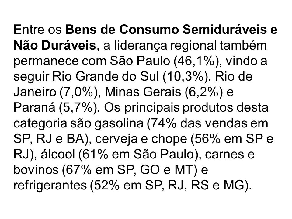 Entre os Bens de Consumo Semiduráveis e Não Duráveis, a liderança regional também permanece com São Paulo (46,1%), vindo a seguir Rio Grande do Sul (10,3%), Rio de Janeiro (7,0%), Minas Gerais (6,2%) e Paraná (5,7%).