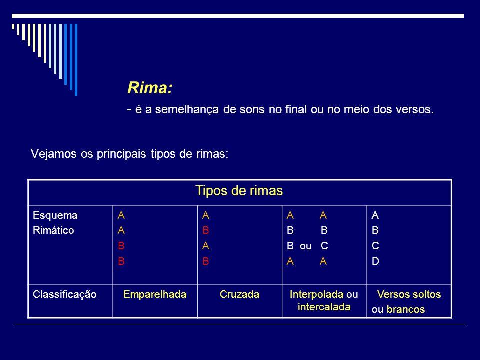 Rima: - é a semelhança de sons no final ou no meio dos versos. Vejamos os principais tipos de rimas: Tipos de rimas Esquema Rimático AABBAABB ABABABAB