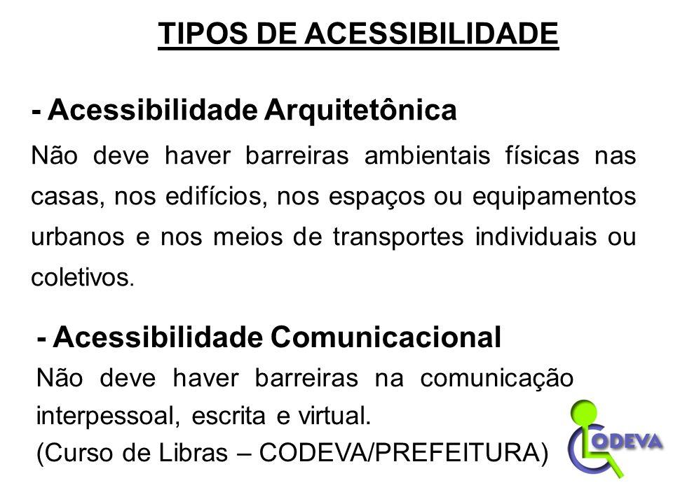 TIPOS DE ACESSIBILIDADE - Acessibilidade Arquitetônica Não deve haver barreiras ambientais físicas nas casas, nos edifícios, nos espaços ou equipament
