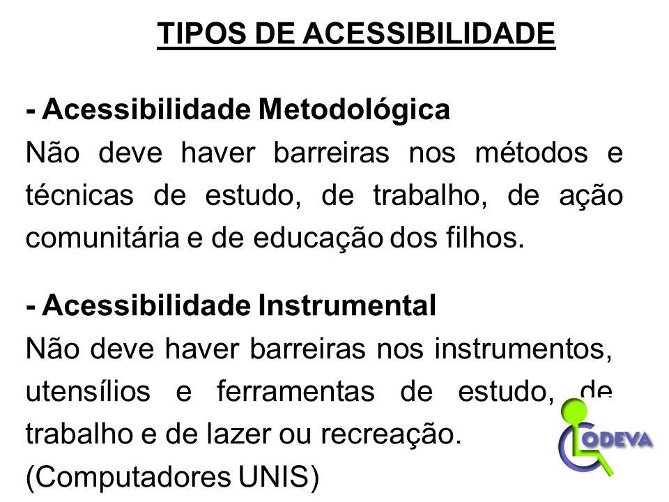 - Acessibilidade Metodológica Não deve haver barreiras nos métodos e técnicas de estudo, de trabalho, de ação comunitária e de educação dos filhos. -