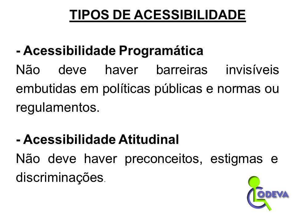 - Acessibilidade Programática Não deve haver barreiras invisíveis embutidas em políticas públicas e normas ou regulamentos. - Acessibilidade Atitudina