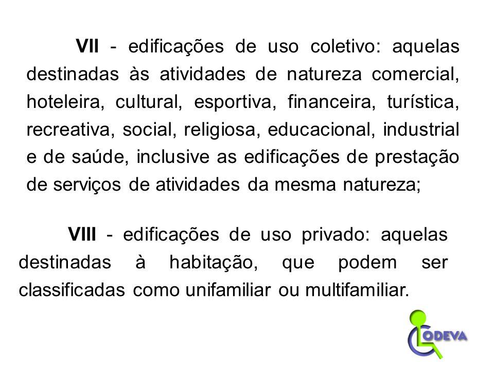 VII - edificações de uso coletivo: aquelas destinadas às atividades de natureza comercial, hoteleira, cultural, esportiva, financeira, turística, recr