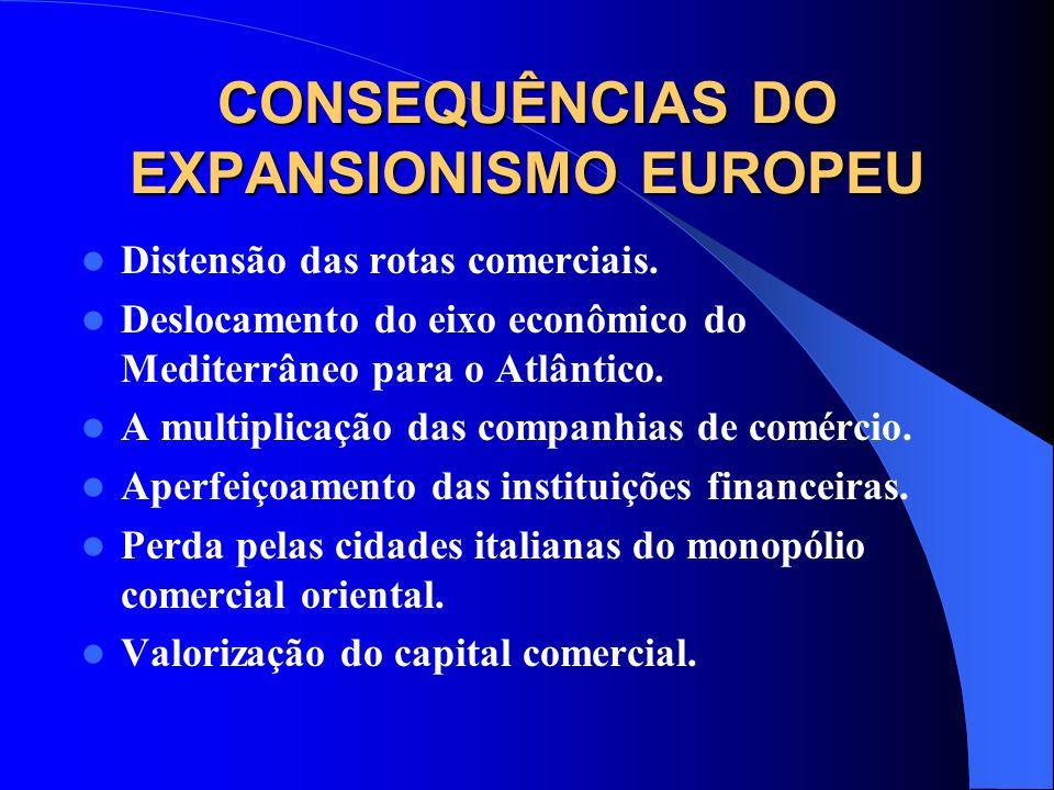 CONSEQUÊNCIAS DO EXPANSIONISMO EUROPEU Distensão das rotas comerciais.