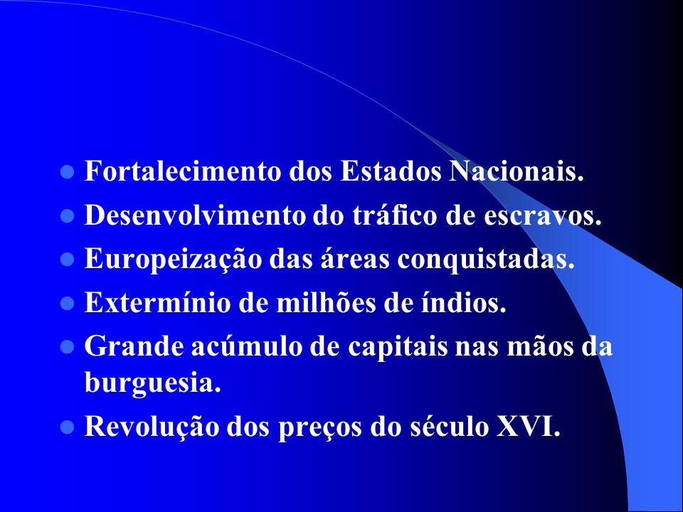 Fortalecimento dos Estados Nacionais.Desenvolvimento do tráfico de escravos.