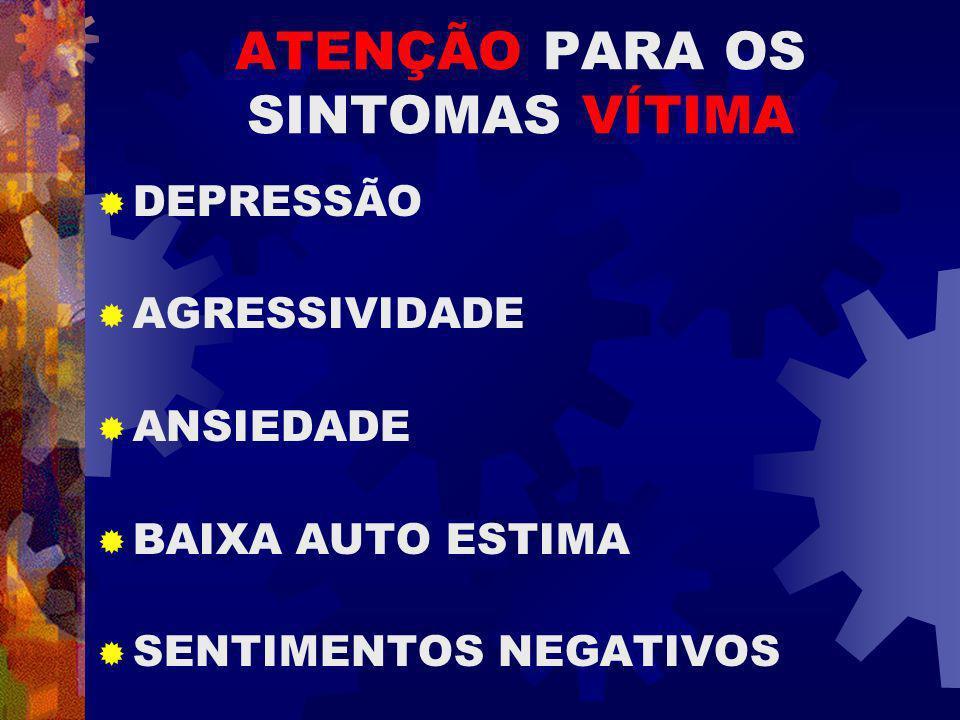 ATENÇÃO PARA OS SINTOMAS VÍTIMA DEPRESSÃO AGRESSIVIDADE ANSIEDADE BAIXA AUTO ESTIMA SENTIMENTOS NEGATIVOS