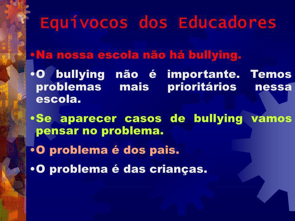 Equívocos dos Educadores Na nossa escola não há bullying. O bullying não é importante. Temos problemas mais prioritários nessa escola. Se aparecer cas