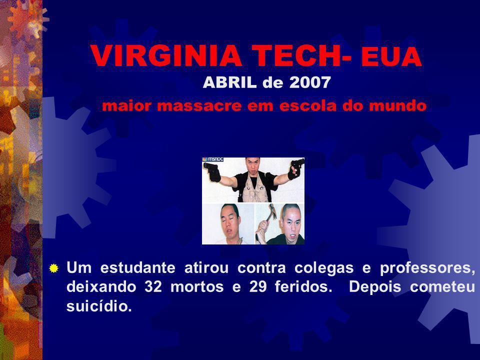 VIRGINIA TECH- EUA ABRIL de 2007 maior massacre em escola do mundo Um estudante atirou contra colegas e professores, deixando 32 mortos e 29 feridos.