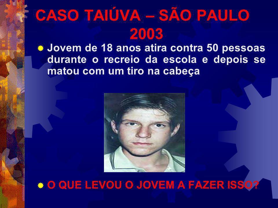 CASO TAIÚVA – SÃO PAULO 2003 Jovem de 18 anos atira contra 50 pessoas durante o recreio da escola e depois se matou com um tiro na cabeça O QUE LEVOU O JOVEM A FAZER ISSO?