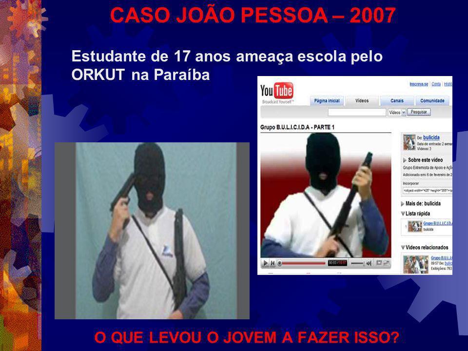 CASO JOÃO PESSOA – 2007 Estudante de 17 anos ameaça escola pelo ORKUT na Paraíba