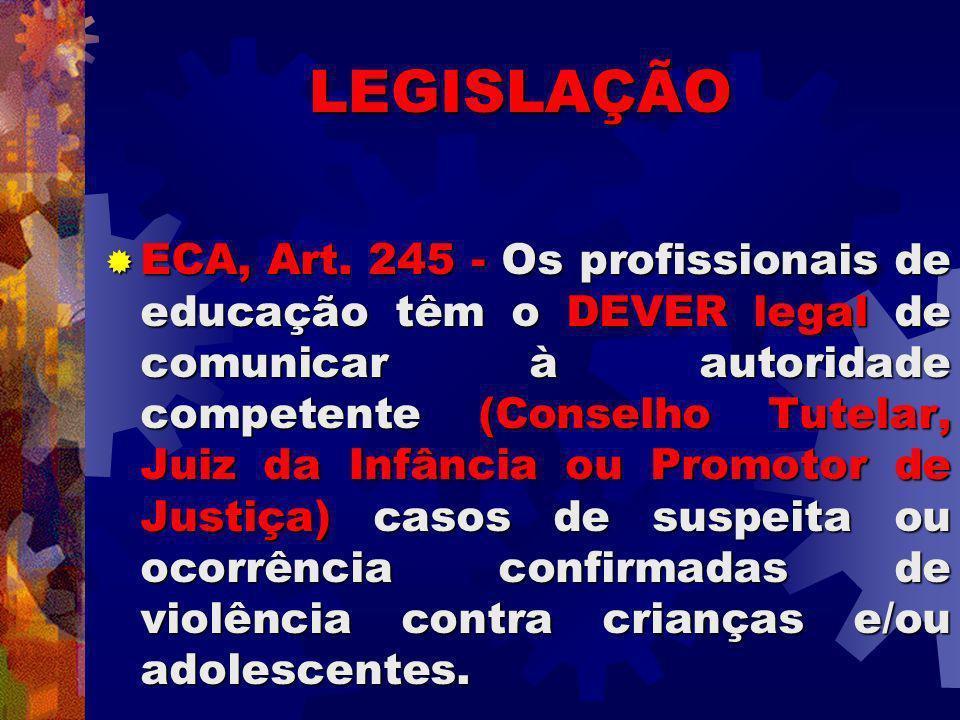 LEGISLAÇÃO ECA, Art. 245 - Os profissionais de educação têm o DEVER legal de comunicar à autoridade competente (Conselho Tutelar, Juiz da Infância ou