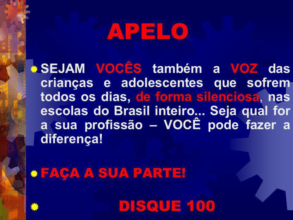 APELO SEJAM VOCÊS também a VOZ das crianças e adolescentes que sofrem todos os dias, de forma silenciosa, nas escolas do Brasil inteiro...