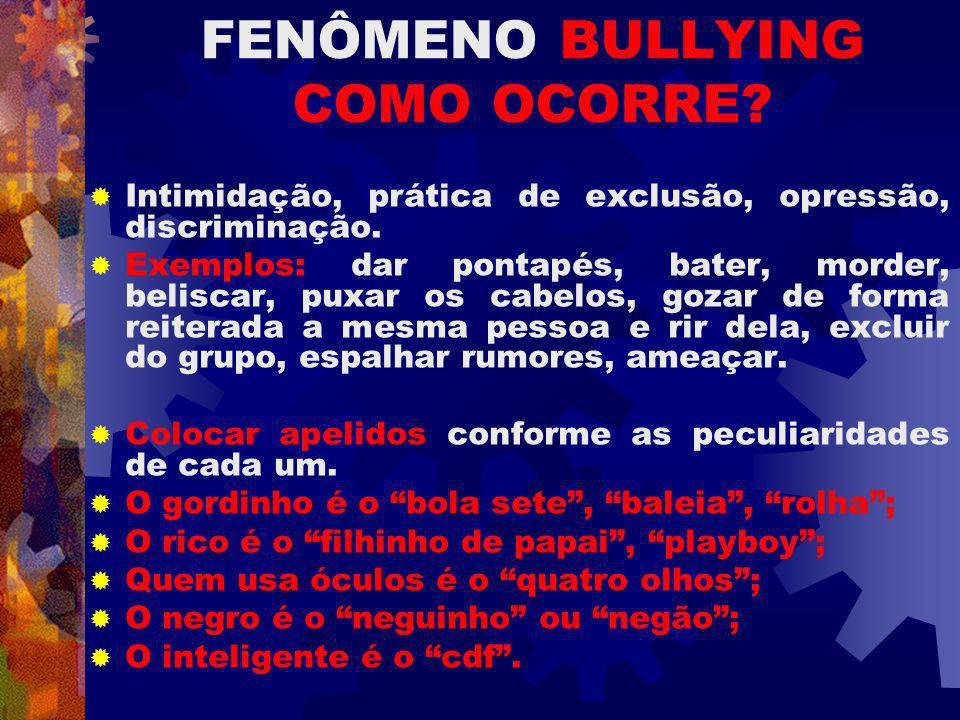 FENÔMENO BULLYING COMO OCORRE.Intimidação, prática de exclusão, opressão, discriminação.