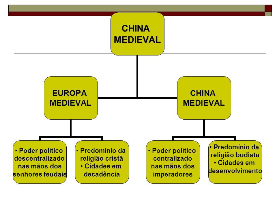 CHINA MEDIEVAL EUROPA MEDIEVAL Poder político descentralizado nas mãos dos senhores feudais Predomínio da religião cristã Cidades em decadência CHINA