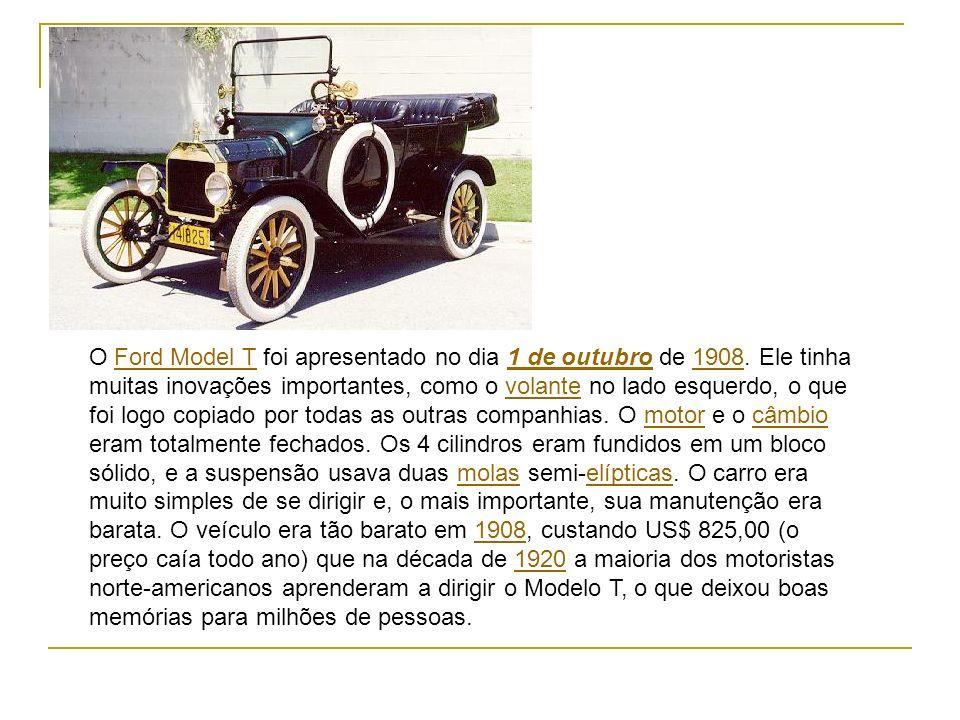 O Ford Model T foi apresentado no dia 1 de outubro de 1908. Ele tinha muitas inovações importantes, como o volante no lado esquerdo, o que foi logo co