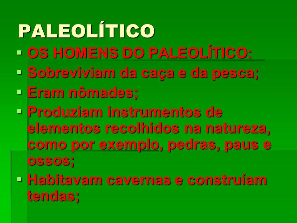PALEOLÍTICO OS HOMENS DO PALEOLÍTICO: OS HOMENS DO PALEOLÍTICO: Sobreviviam da caça e da pesca; Sobreviviam da caça e da pesca; Eram nômades; Eram nômades; Produziam instrumentos de elementos recolhidos na natureza, como por exemplo, pedras, paus e ossos; Produziam instrumentos de elementos recolhidos na natureza, como por exemplo, pedras, paus e ossos; Habitavam cavernas e construíam tendas; Habitavam cavernas e construíam tendas;