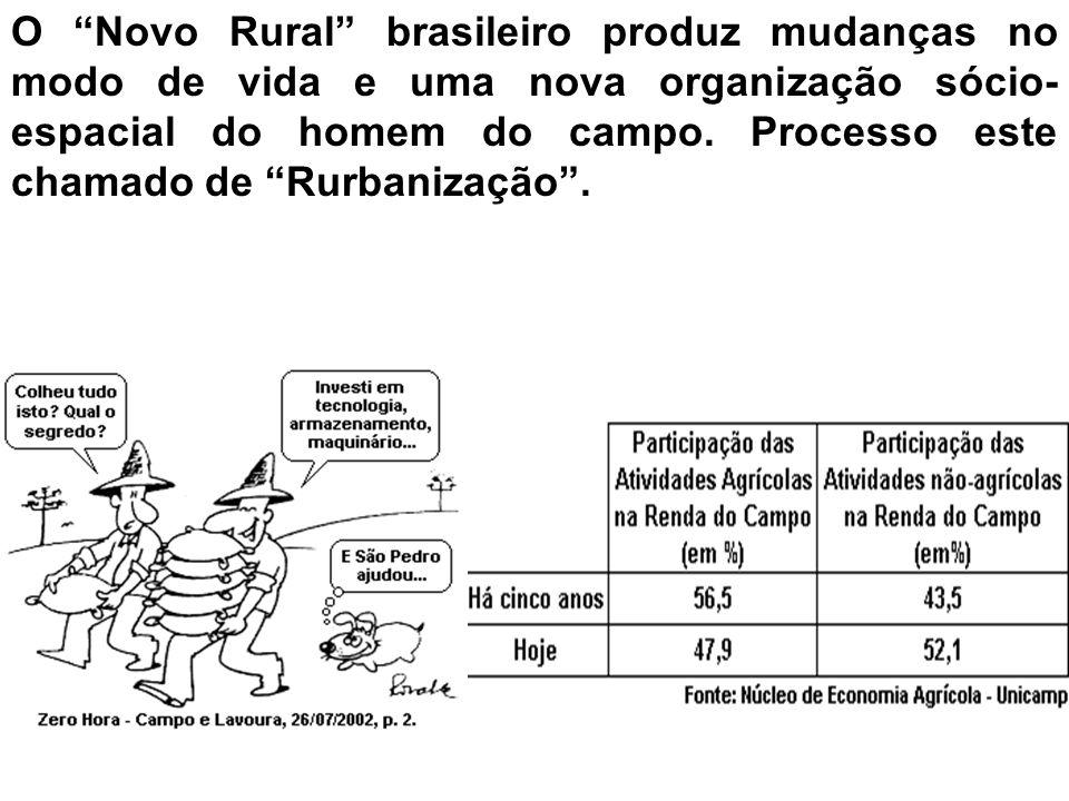 O Novo Rural brasileiro produz mudanças no modo de vida e uma nova organização sócio- espacial do homem do campo. Processo este chamado de Rurbanizaçã