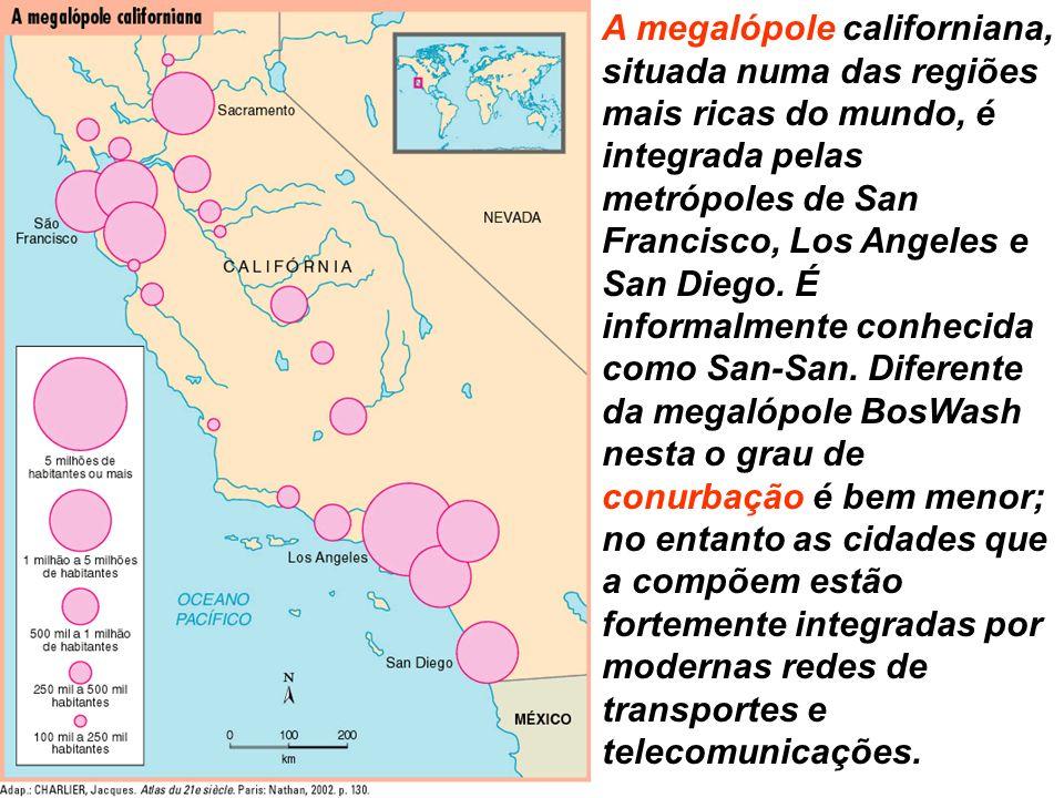 A megalópole californiana, situada numa das regiões mais ricas do mundo, é integrada pelas metrópoles de San Francisco, Los Angeles e San Diego. É inf